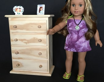 """4 Drawer Chest for American Girl and Other 18"""" Dolls - Select Pine - Unfinished"""