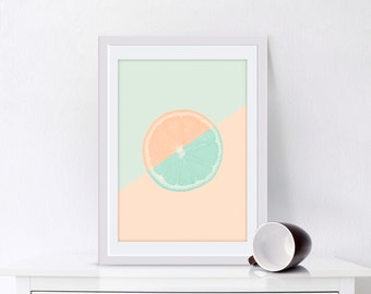 Pastel Orange Print, Pastel Poster, Kitchen Wall Art, Large 20x30, Orange Poster, Pale Art, Decor for Kitchen, Home Decor
