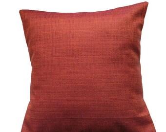 Rust Orange Pillow Cover / Handmade Burnt Orange Pillow / Fall Colours Decor