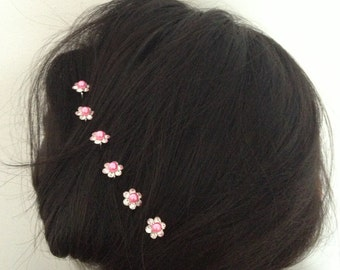 Rhinestone and pearl flower hair pins. 6 pcs.