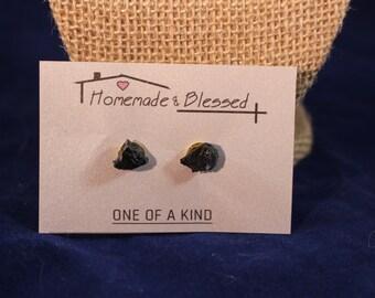 Raw Black Tourmaline Earrings