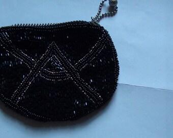 50s vintage black beaded coin purse , zipper closure.