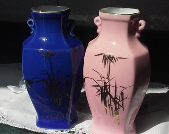 "5.30"" Twins Vintage Chinese vases, Blue & Purple Vases, Chinese Amphora, Blue and Gold vase, Purple and Gold vase, Her and Him Gift"