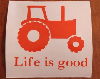 Tractor Decal - permanent vinyl - perfect for Yeti & Rtic cups, coolers, tractor cab windows, etc. Decal only. Farm life!
