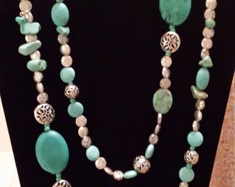 Howlite and silver pewter bead rope necklace