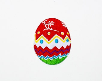 Set of 1 - The Easter Egg (Red). Iron-on Patch/Flex stickers/Applique