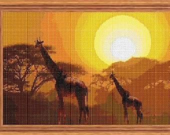 Safari Sunset Colour Cross Stitch Chart