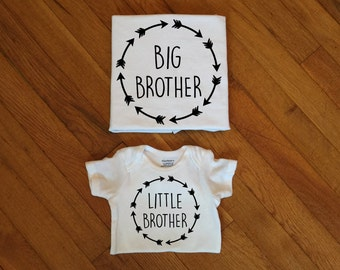 SALE! Brother Arrow Name Shirts, Family Matching Shirts, Big Brother, Middle Brother, Little Brother, Arrow Heart TShirt Baby Announcement