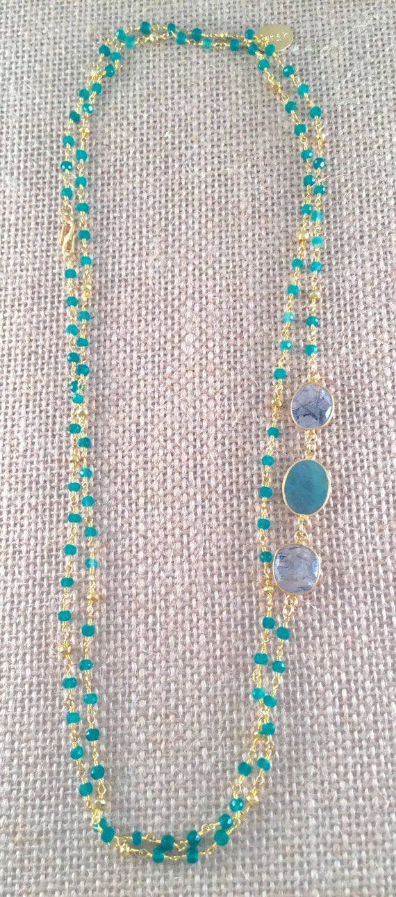 "Rosary Type Beaded Emerald Necklace-Emerald & Rutile gemstones -22K Goldplated-44"" long-Double Wrap-Layer-SINTRA II"