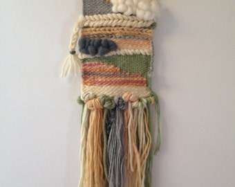 Hand made weaving, one of a kind, wall hanging, wall art - cloudy day