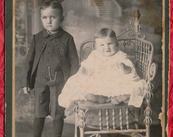 Pair of Cabinet Cards of Cute Children with Lots of Personality