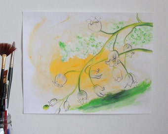 Original Lily of the Valley Drawing on Paper