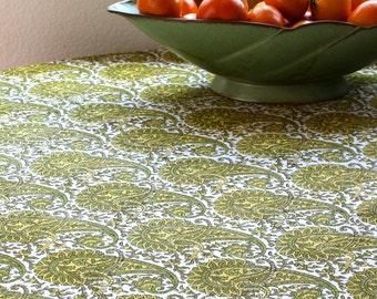 Fun circular wood-block printed paisley tablecloth.
