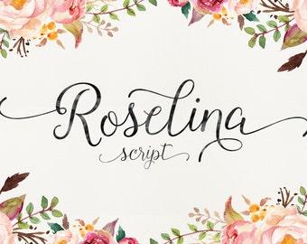 Roselina Script, Modern Font, Handwritten Font, Calligraphy Font, Fancy Font, Modern Calligraphy Font, Digital Font Download