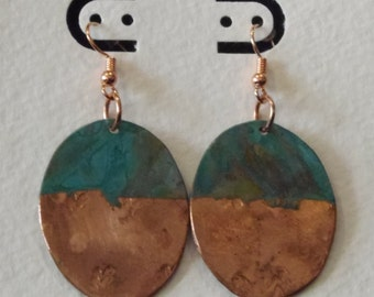 Oval green patina earrings