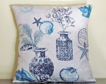 Blue Throw Pillow Cover, Decorative Pillow, Cushion Cover, Custom Pillow Case, 16x16 Pillow, Handmade Pillow Case, Blue Pillow Cover