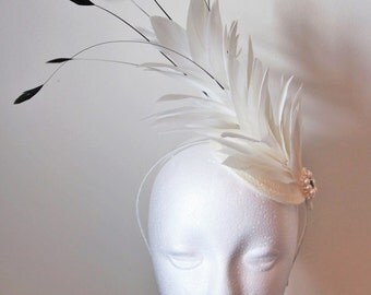 Ivory feather bridal fascinator, feather fascinator, wedding fascinator, derby fascinator, races fascinator