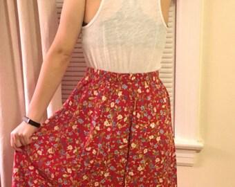 Small Floral Print Hi-Waisted Skirt