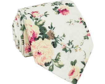 White Floral Necktie, Floral Tie, Mens Tie, Mens Skinny Tie, Floral Skinny Tie, Mens Floral tie