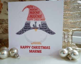 Personalised Christmas Card, Christmas Penguin Card, Personalised Word Art Card, Special Card, Penguin Card