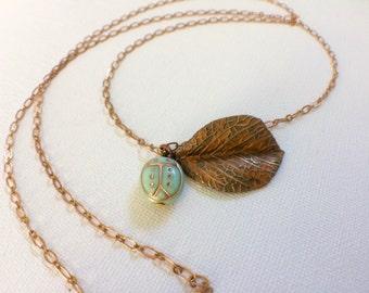 Ladybug Necklace, Lady Bug Necklace, Leaf Necklace, Autumn Necklace, Aqua Ladybug, Mint Ladybug, Turquoise, Gardeners Gift, Gardening Gift,