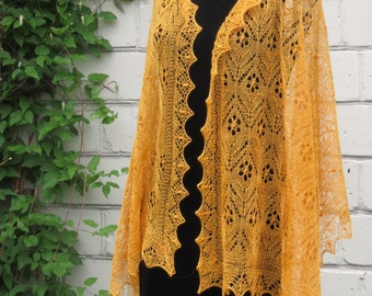 Traditional rectangular Haapsalu Lace Shawl Estonian lace