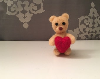 Bear with Heart - Needle Felted