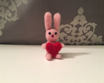 Bunny with Heart - Needle Felted