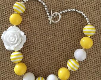 Sunshine Yellow and White Bubblegum Necklace