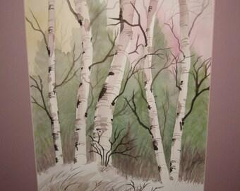 16x20 Watercolor Aspens, Original, matted, optional