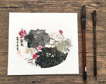 Original Chinese Ink and Wash Painting - Beautiful Zen Lotus Flower,  24x27cm,Chinese Painting, Wall Art, Home Decor, Great Gift!