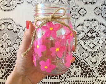 Pink Flowers Drinking Glass