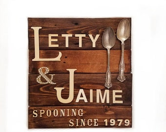 "Rustic and Customized, Wedding or Engagement ""Spooning Since..."" Wall Decor"