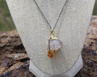 Amethyst Necklace with Gold Film Cap