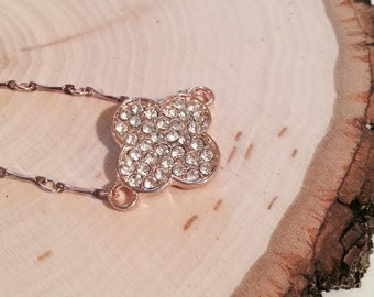 Rose Gold Necklace with Rose Gold Rhinestone covered Clover; Rose Gold Necklace; Clover Necklace; Rhinestone Necklace, Charm Necklace