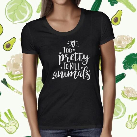Pretty Vegan Statement T-shirt - Women's Vegetarian T Shirt - Animal Love Tee - Animal Welfare Shirt - Plant-based T Shirt - Animal Rights T