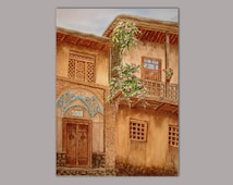 Ancient street, original, watercolour painting, 36x50cm, traditional piece, stunning, suitable for gift, Persian art, by Mohammad Shokri