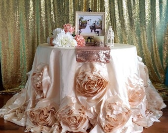 Ivory Round Rosette Tablecloth, Ivory Wedding Linens, Roses Tablecloth, Ivory Rosette Tablecloth, Ivory Rose Tablecloth