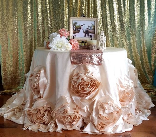 Ivory Round Rosette Tablecloth Ivory Wedding Linens Roses
