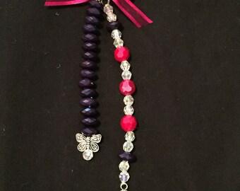 Handmade Beaded Key Ring , Ladybug Key Chain, Purse Charm, Zipper Pull