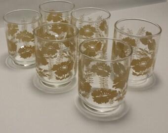 CLEARANCE Vintage 1970's Set Of Six 5 oz. Flower JUICE GLASSES, Vintage Flowered Juice Glasses, Glassware, Flower Power,