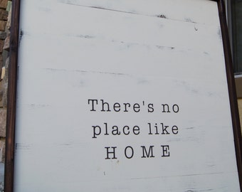 """large framed wood sign - """"There's no place like home"""" - rustic home decor"""