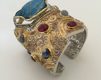 Neo Tribal Turquoise and Ruby Gold Plated Silver Cuff Bracelet