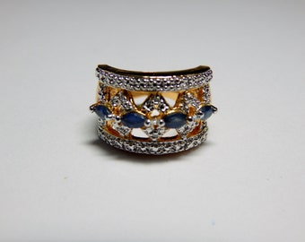 Vintage 925 Sterling with Gold Overlay Genuine Sapphire and Diamond Wide Band Ring - Diamond and Sapphire 925 Sterling and Gold Ring