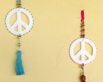 Ibiza peace and love sun catcher charm with tassel