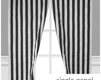 Black Stripe Curtains Window Treatments Black And White Curtain Custom Drapery Decor Drapes Single Panel