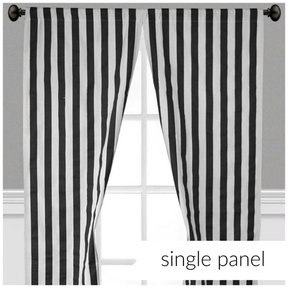 Black Stripe Curtains Window Treatments Black And White