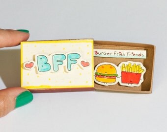 Funny Best Friend Card/ Funny Friendship Card for Foodies, Food Lovers/Cute Friendship Card/Matchbox/Gift box/BFF Burger Fries Friends/OT011