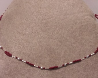 Red and Silver Beaded Jewelry Set
