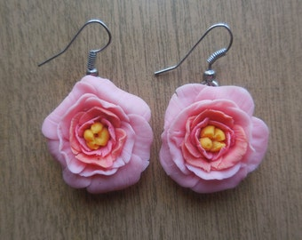 Earrings-pink flower. Decoration handmade from polymer clay.Jewelry for girls.